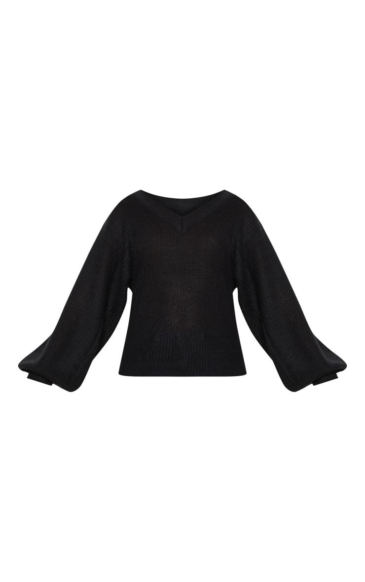 Pull en tricot noir côtelé à manches ballon 3