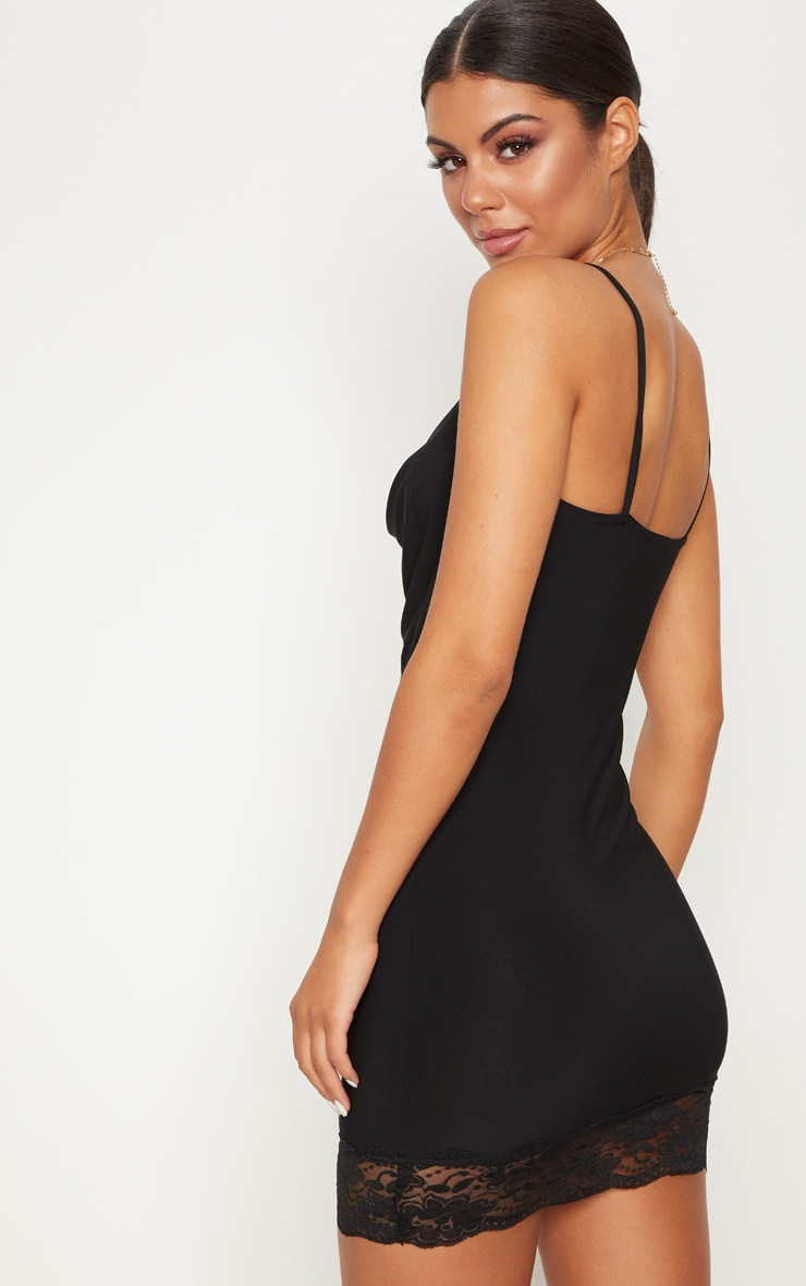 Black Lace Insert Cowl Bodycon Dress 2
