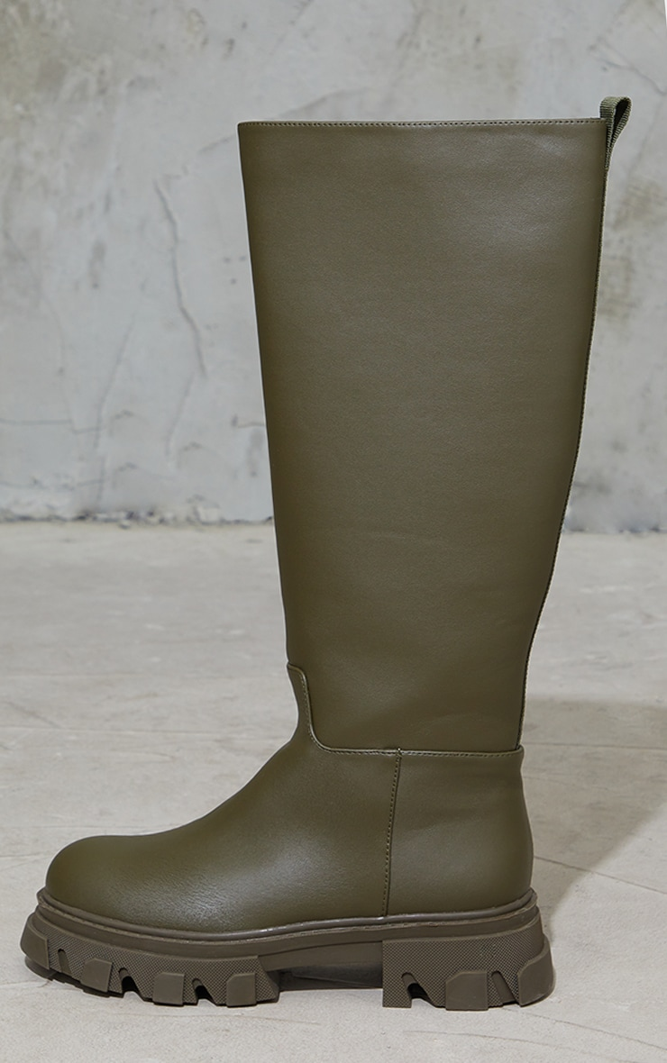 Khaki Extreme Cleated Sole Calf High Wellie Boots 4