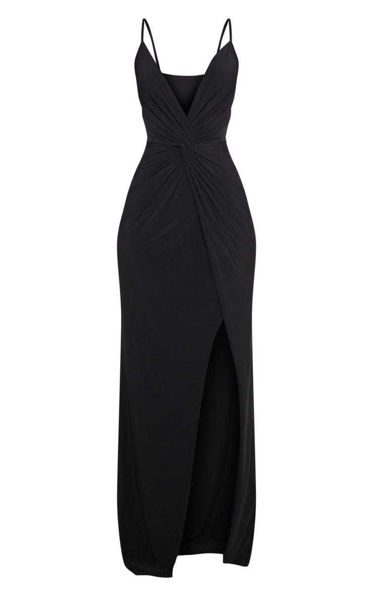Black Slinky Knot Front Maxi Dress 5