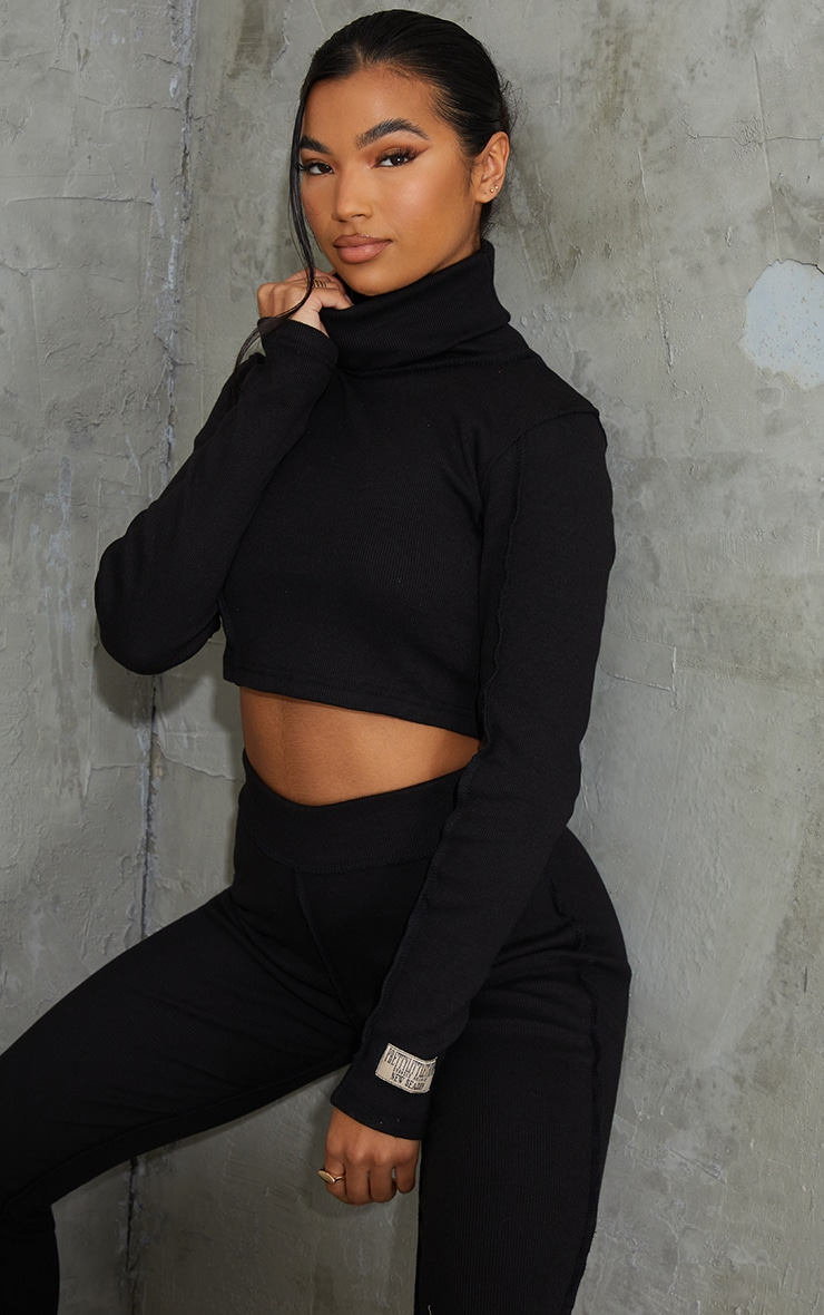 PRETTYLITTLETHING Black Badge Structured Rib High Neck Long Sleeve Crop Top 1