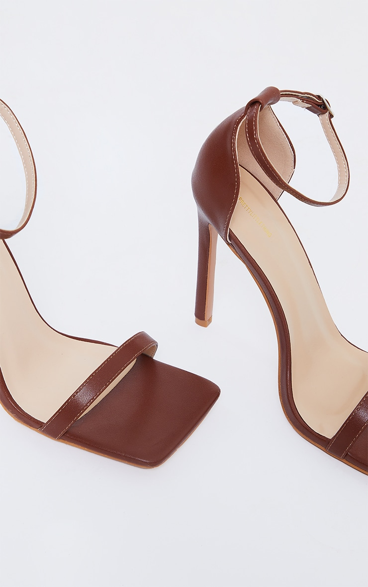 Tan WIDE FIT PU Barely There Strappy Heeled Sandals 4