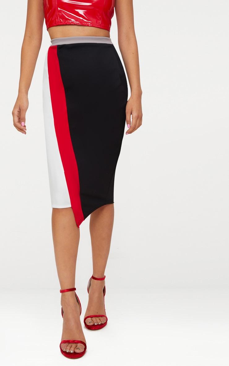 Black Colour Block Midi Skirt  2