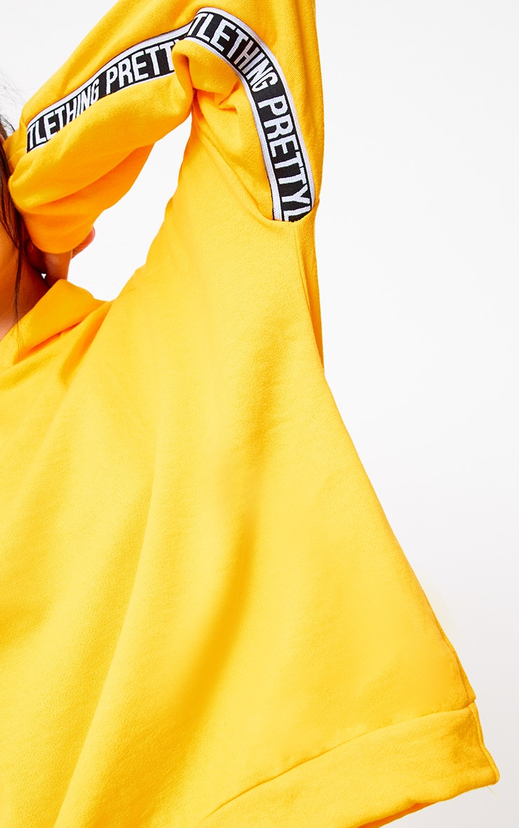 PRETTYLITTLETHING Yellow Branded Oversized Hoodie 5
