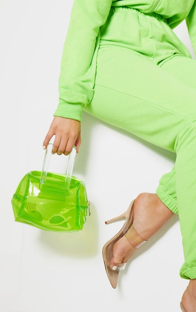54b56a1ae7b5 Neon Lime Clear Resin Handle Mini Bag. More colours available