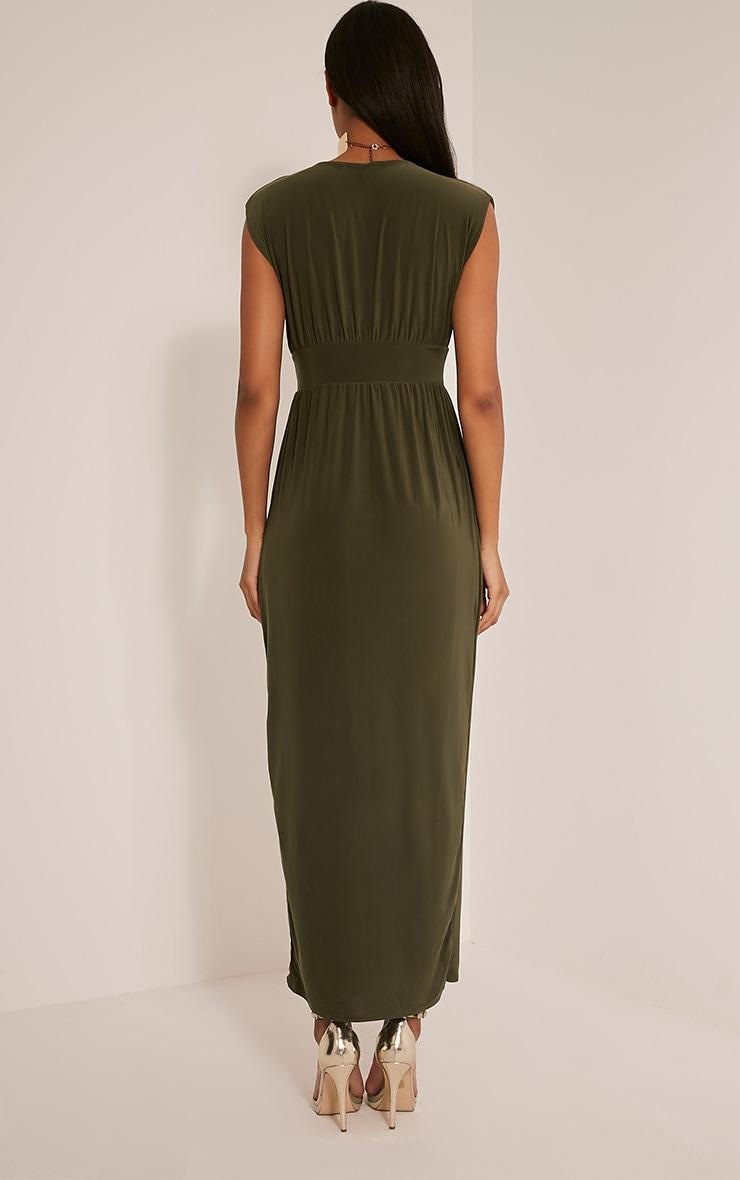 Marlisa Khaki Slinky Plunge Maxi Dress 3