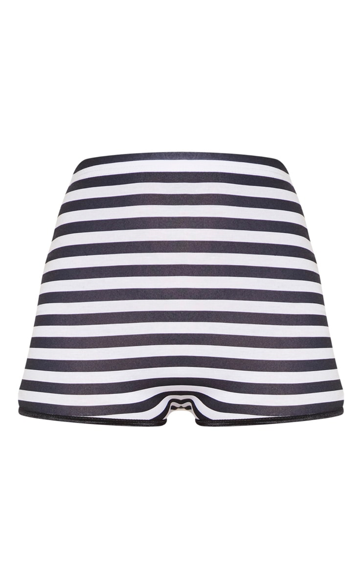 Black High Waisted Stripe Hot Pant 3