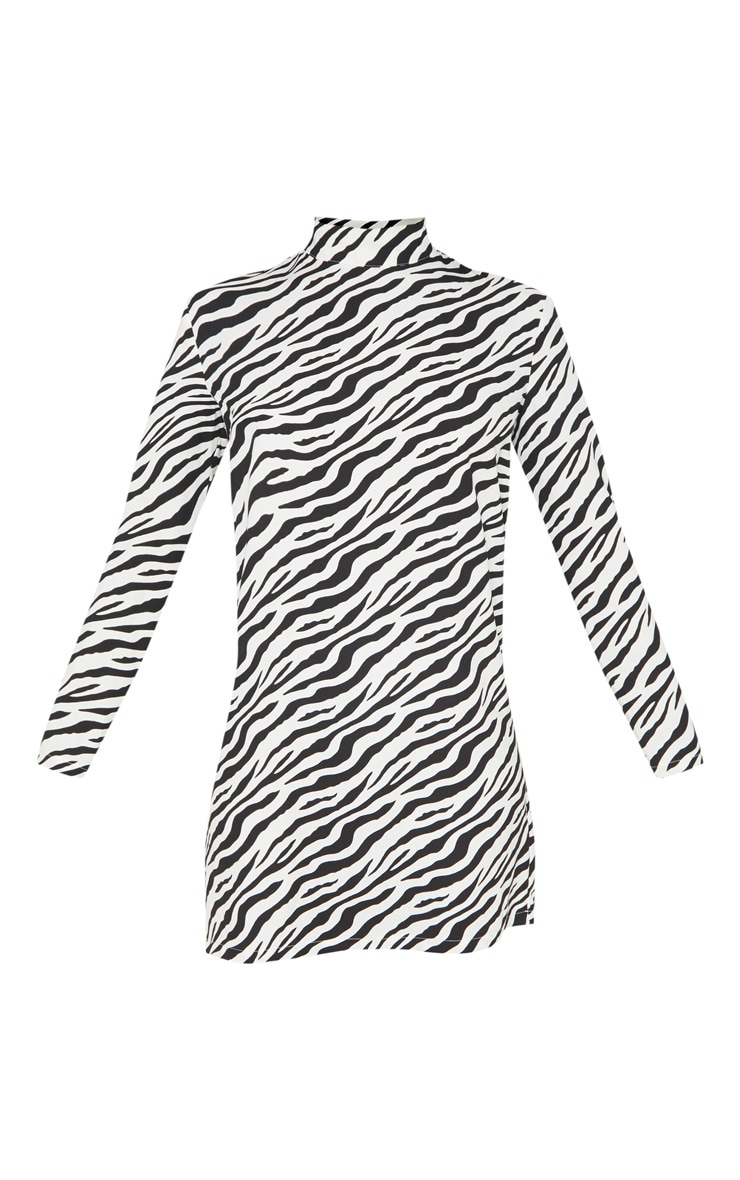 Tall White Zebra  High Neck Shift Dress 3