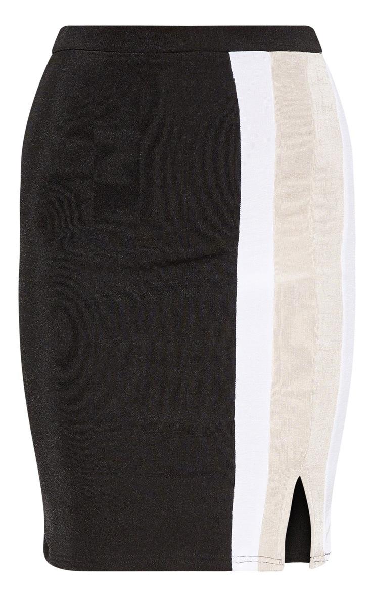 Jupe mi-longue noire fendue à bandes latérales style sport  3