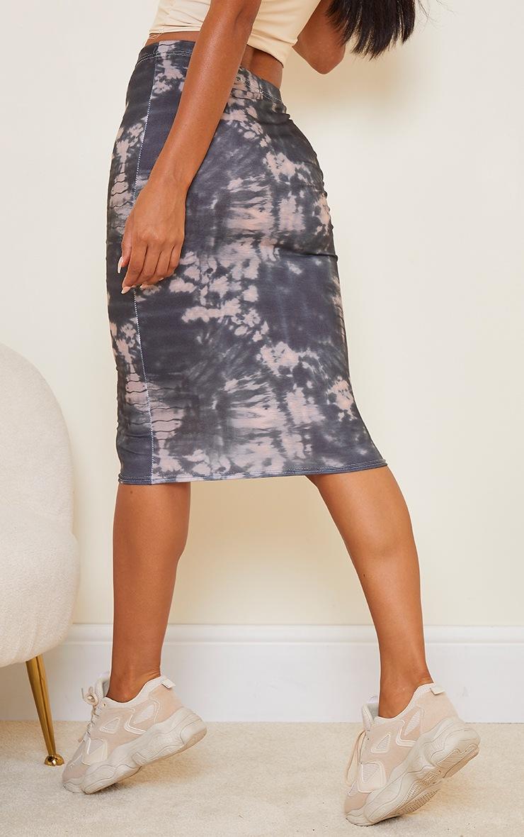 Black Tie Dye Printed Midi Skirt 3