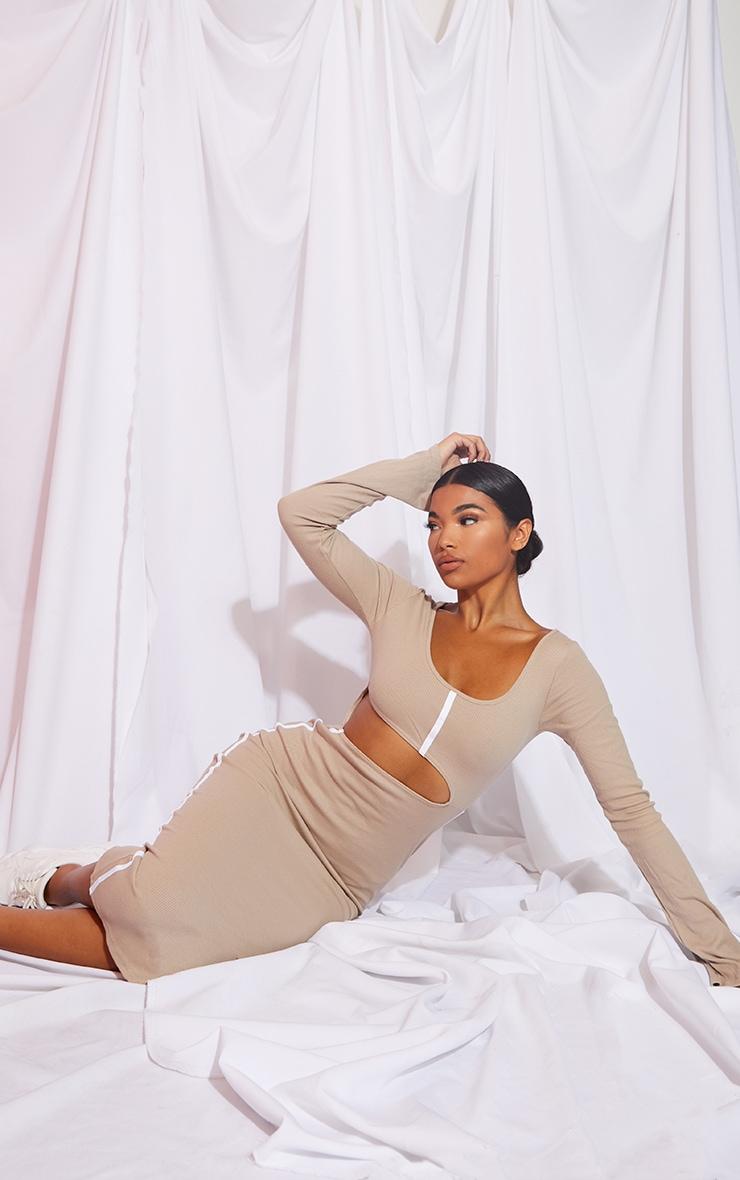 Stone Rib Contrast Trim Cut Out Long Sleeve Midi Dress 3