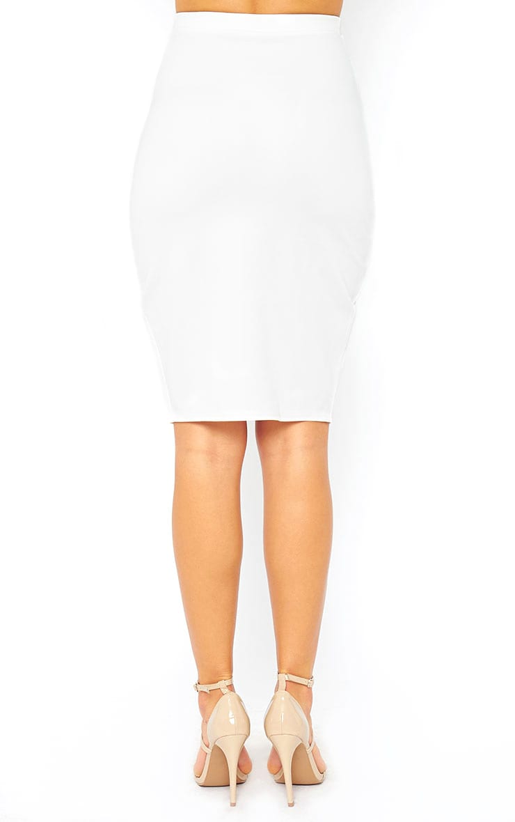 Melrose Cream Scuba Midi Skirt 4