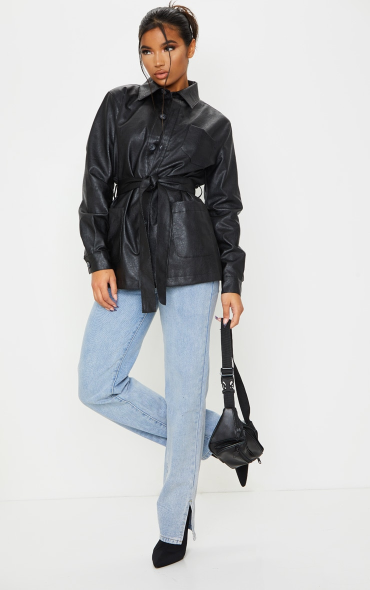 Black PU Oversized Belted Jacket 3