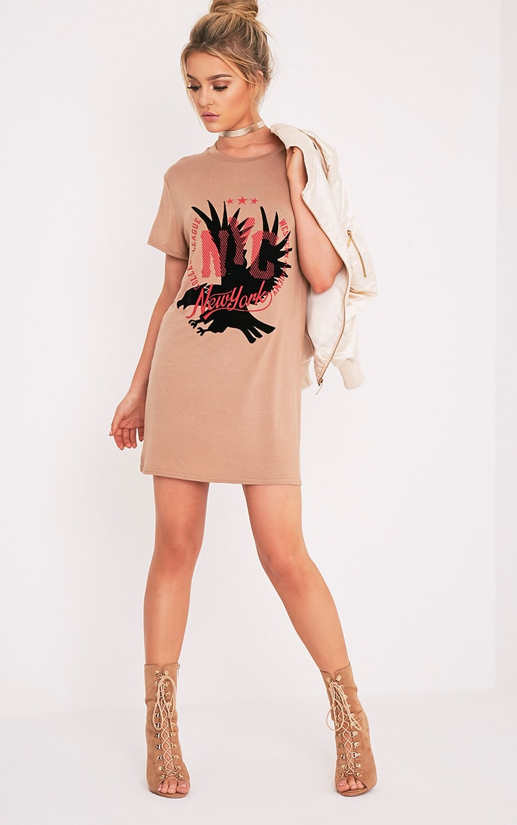 New York Flocked Print Camel T-Shirt Dress 5