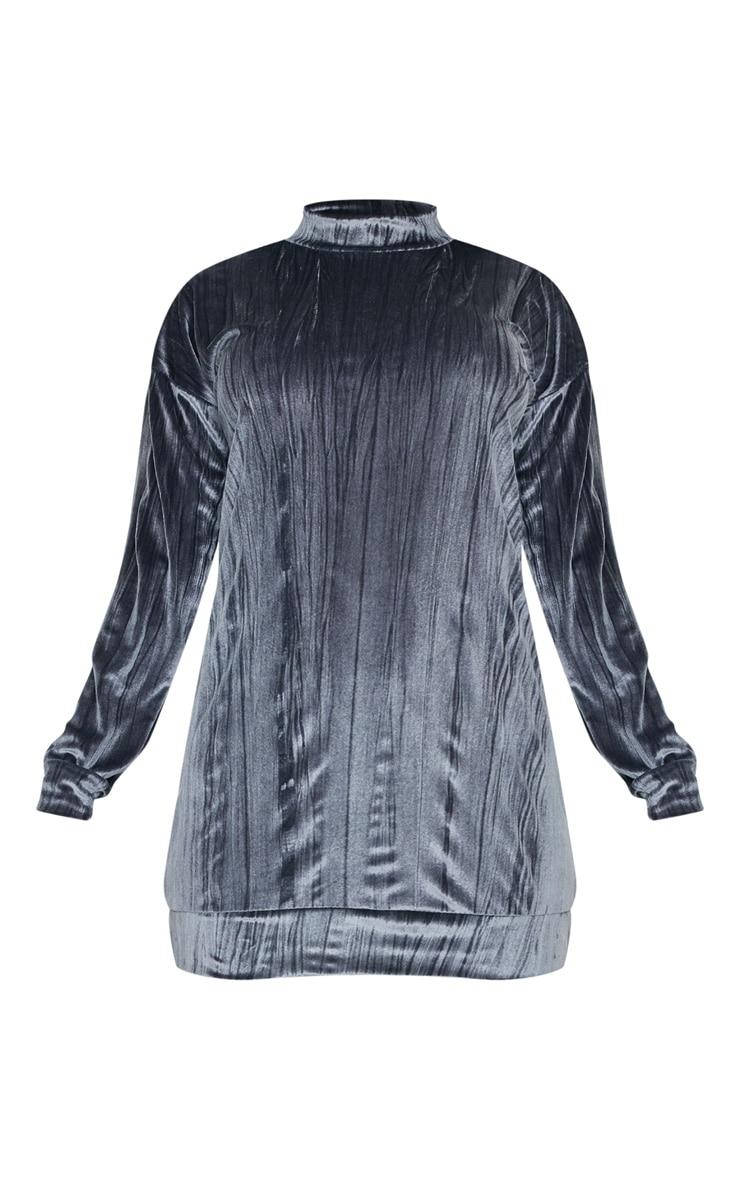 Grey Bamboo Velvet Oversized Jumper Dress 3