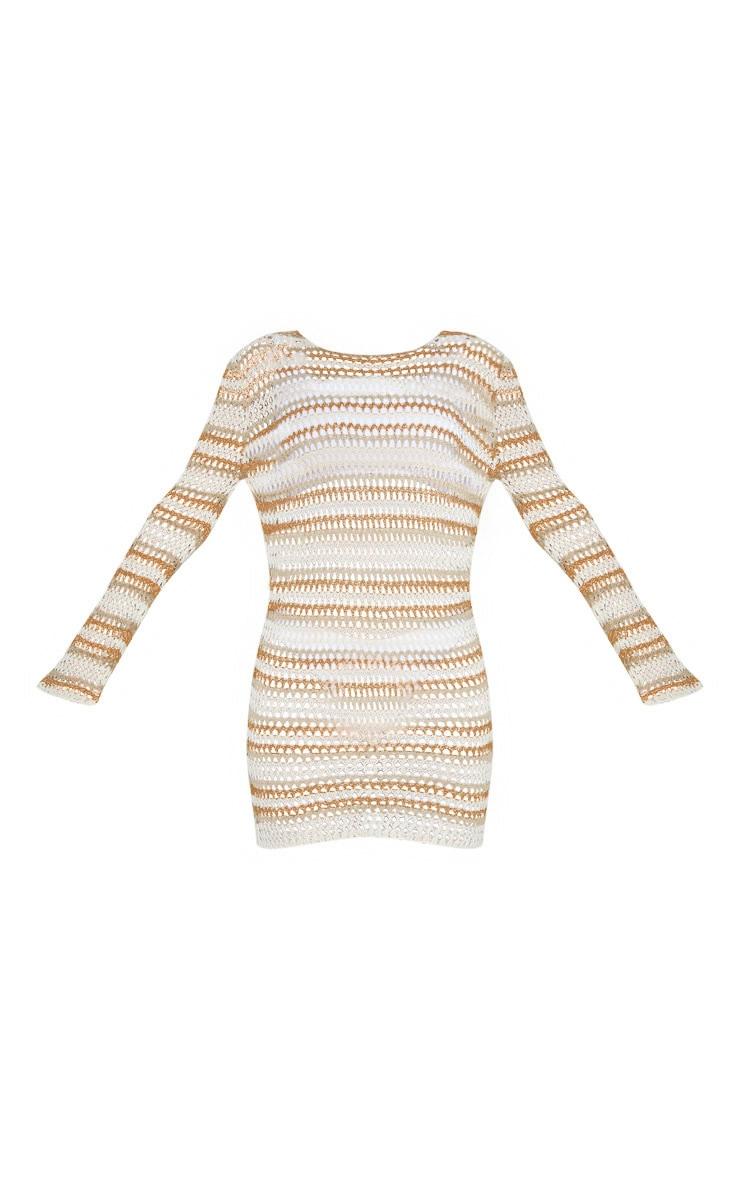 Stone Crochet Stripe Detail Knit Dress 3