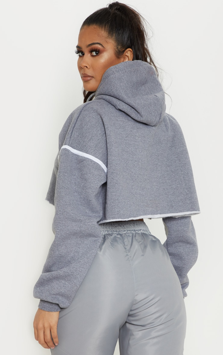 Grey Contrast Stripe Drop Shoulder Hoodie 2