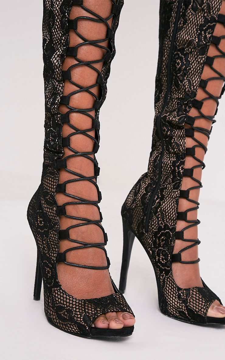 Safire Black Lace Up Thigh High Lace Heels 6