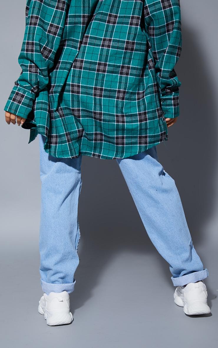 Petite Light Wash High Waist Knee Rip Straight Leg Jeans 3