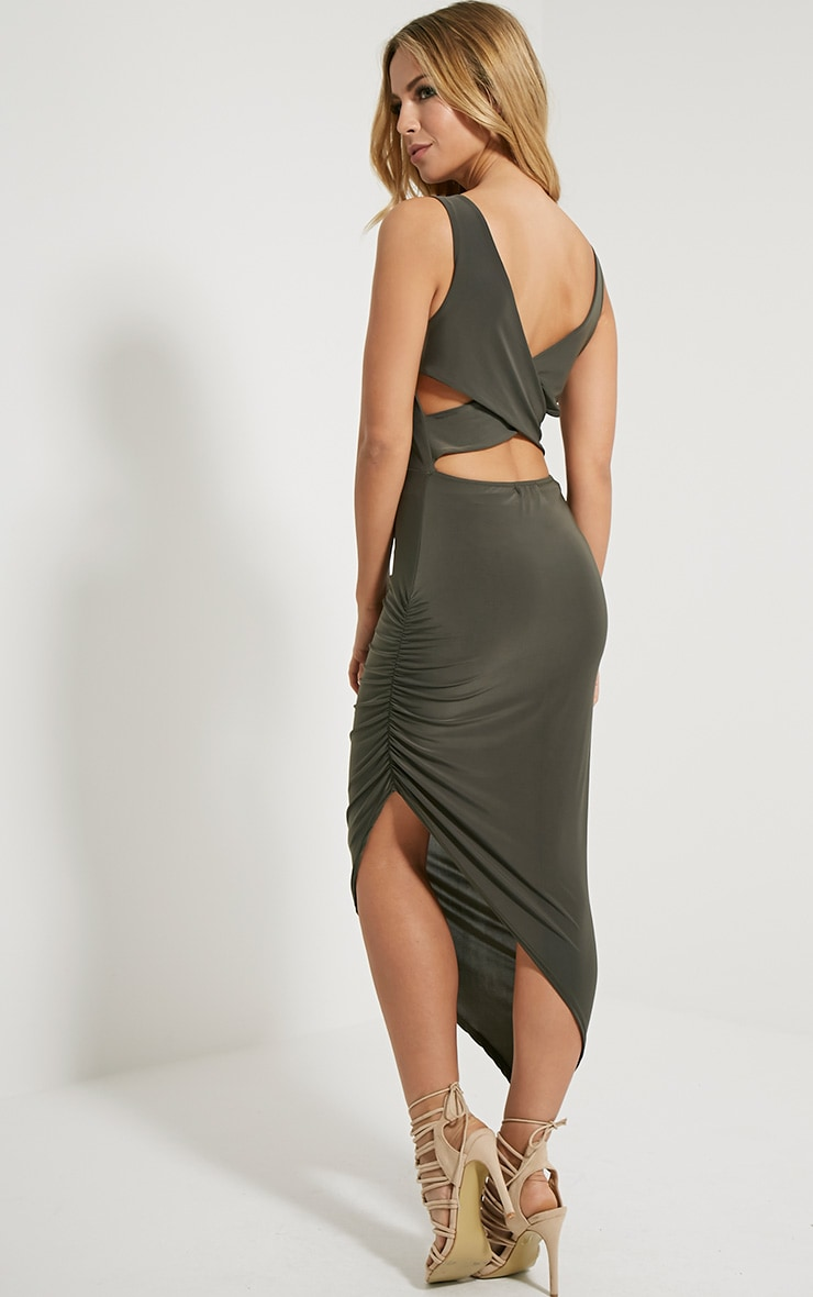 Carmen Khaki Cross Back Ruched Side Midi Dress 3