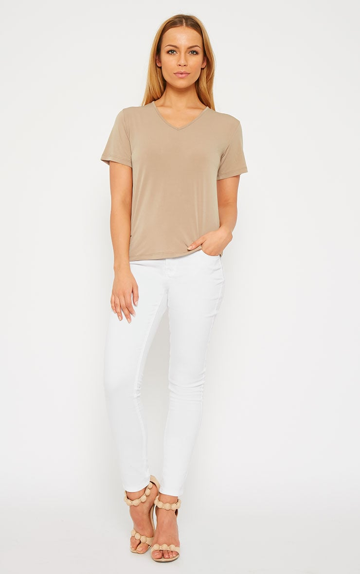 Basic Camel Slinky V-Neck T-Shirt 4