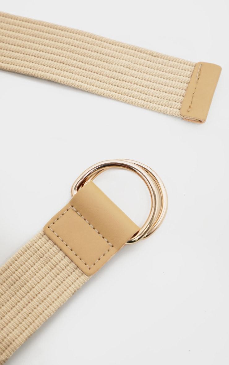 Beige Ribbed Tape Belt 3