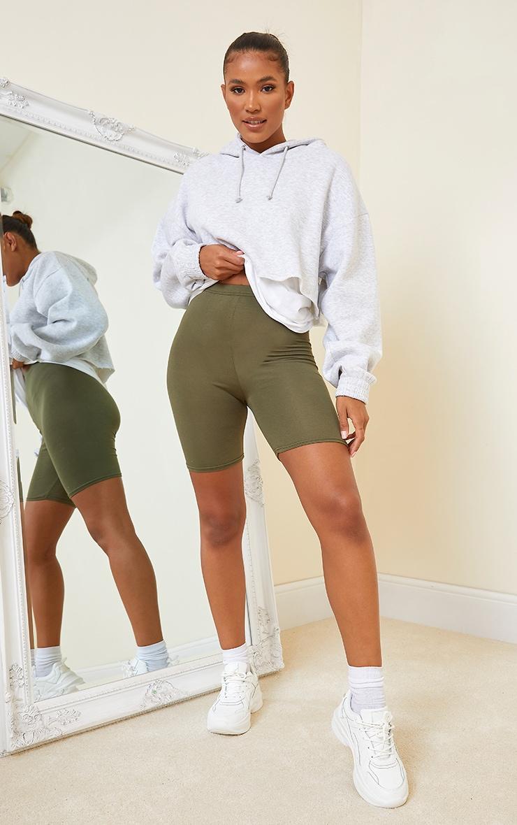 Khaki Basics Bike Shorts 1
