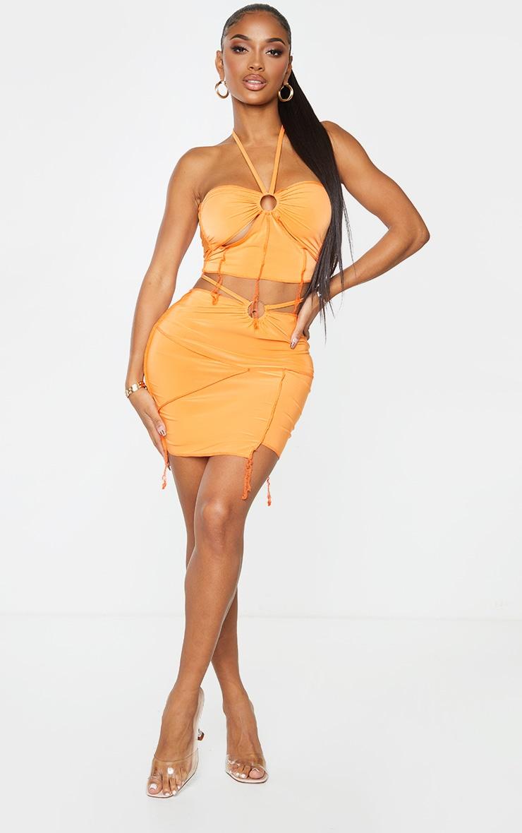 Shape Orange Slinky Overlock Ring Detail Bodycon Skirt 1