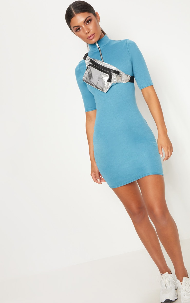 Mineral Blue Zip Detail Bodycon Dress 2
