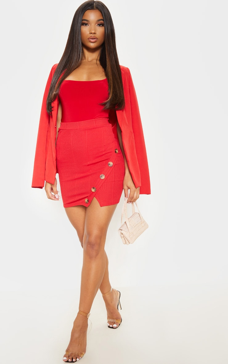 Red Bandage Wrap Front Button Detail Mini Skirt  1
