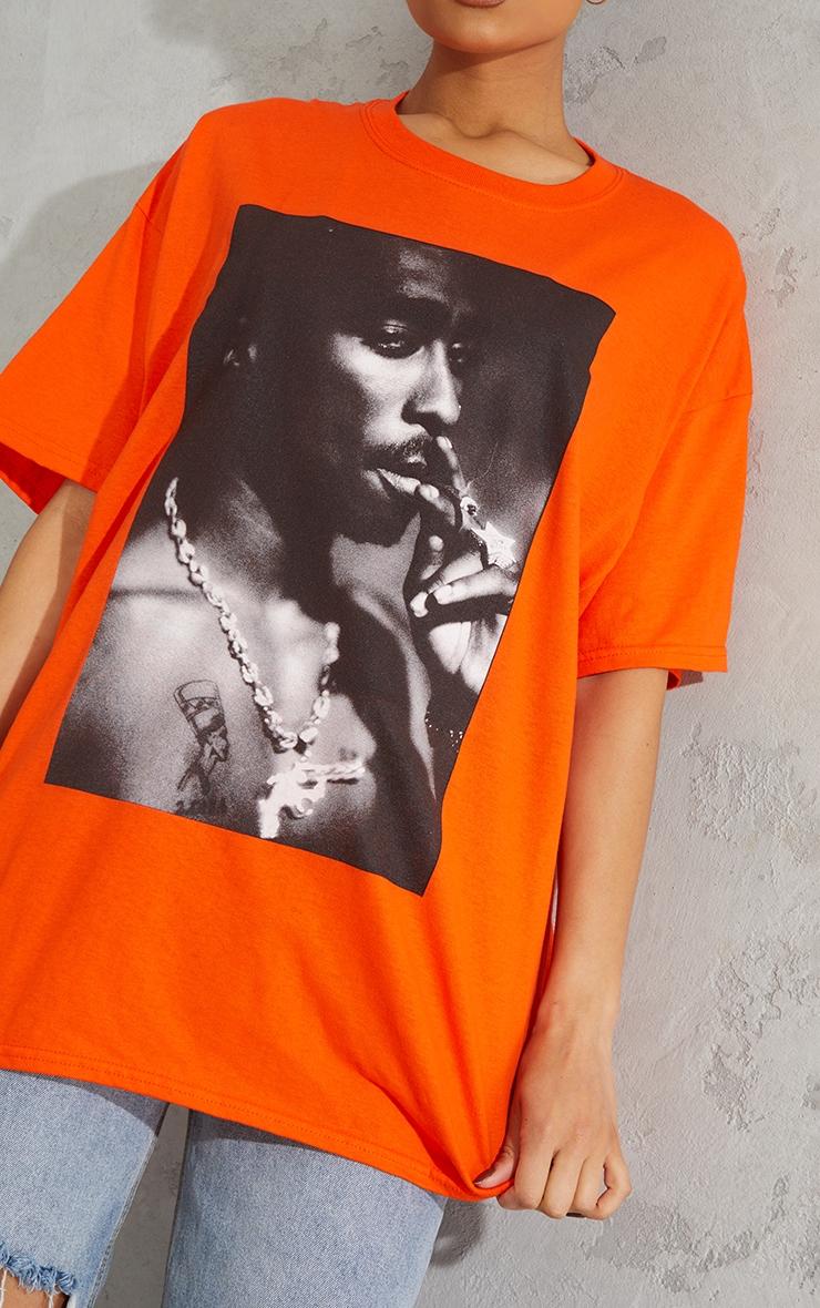 Orange Tupac Portrait Print T Shirt 4