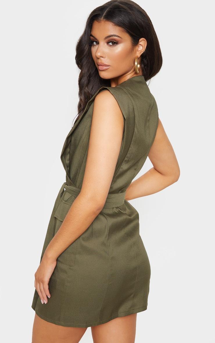 Khaki Sleeveless Gold Button Detail Blazer Dress 2