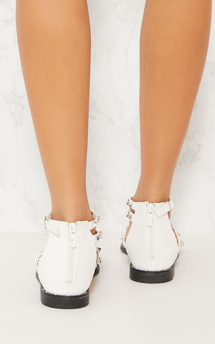 White Studded Strappy Flat Sandals 4