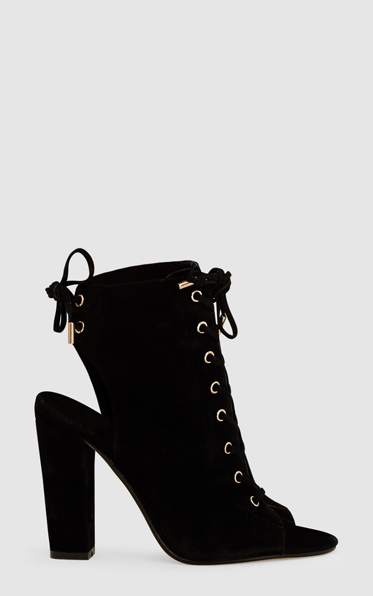 Black Faux Suede Lace Up Peep Toe Ankle Boots 3