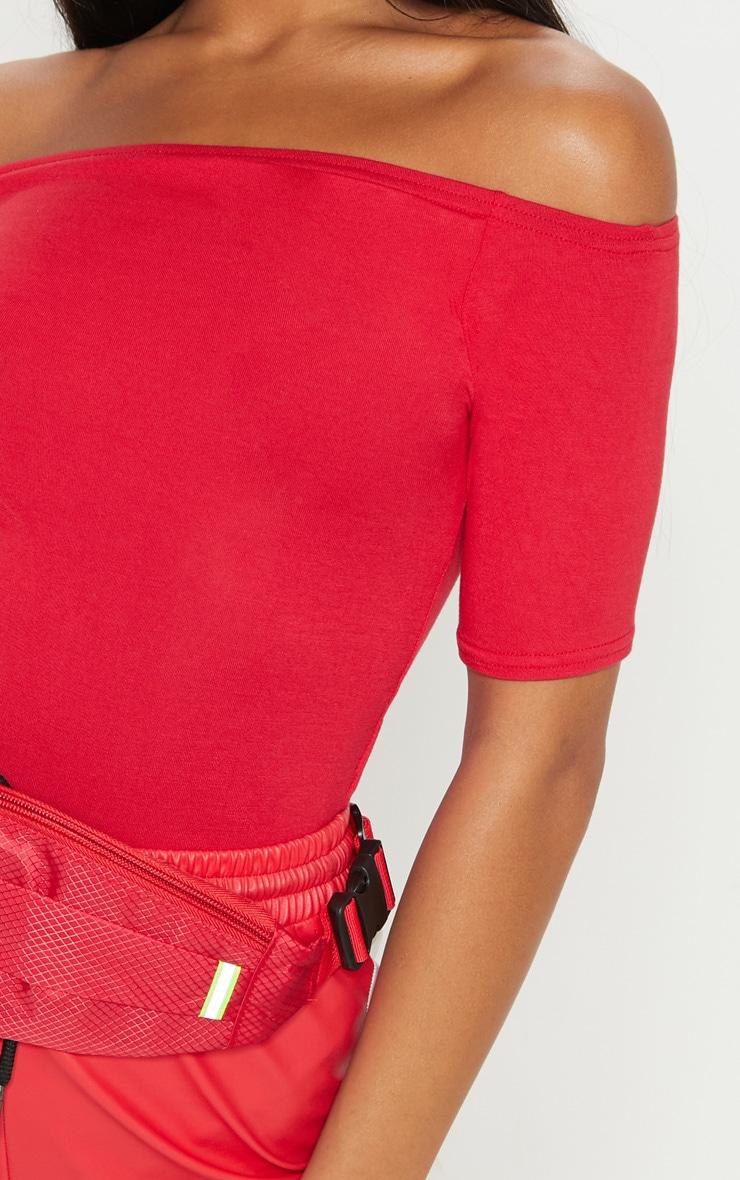 Basic Red Bardot Short Sleeve Bodysuit  6