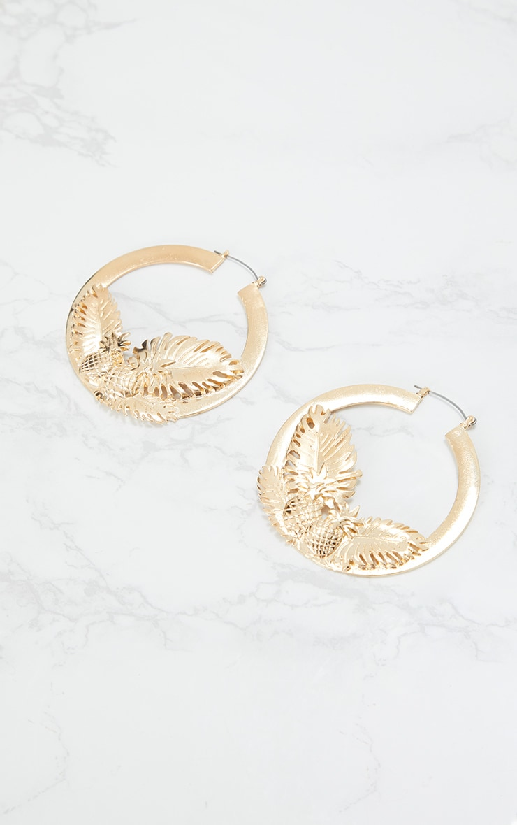 Gold Pineapple Leaf Chunky Hoop Earrings 3