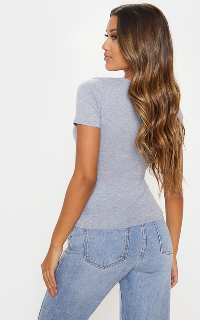 Grey Jersey Ruched Front Short Sleeve Top