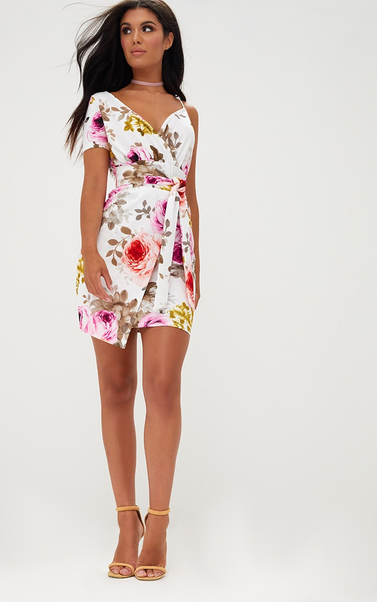 White Floral Asymmetric Wrap Bodycon Dress 4