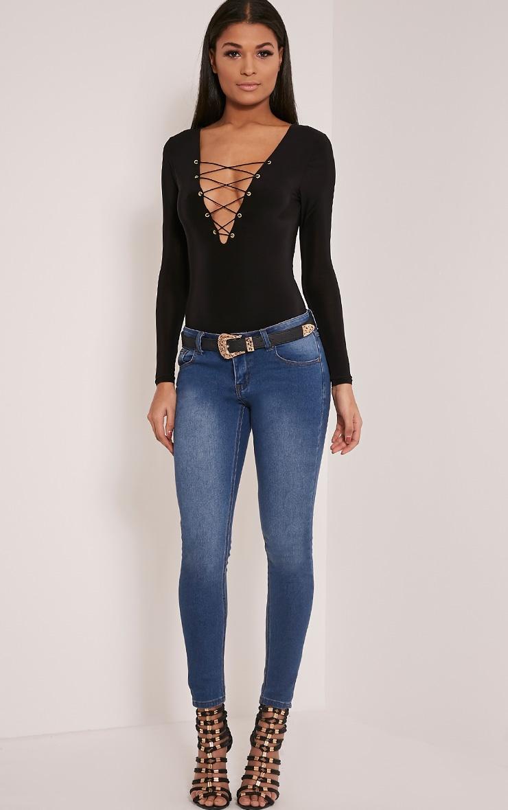 Kitanna Black Lace Up Bodysuit 2