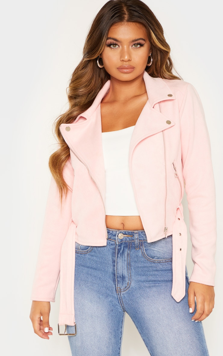 Light Pink Faux Suede Biker Jacket  1