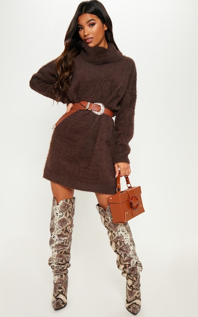 43fcd82d999 Brown Knitted High Neck Jumper Dress