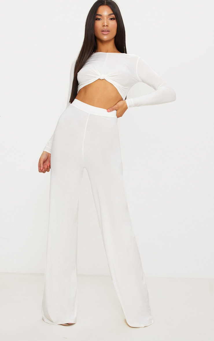 Cream Slinky Wide Leg Trousers