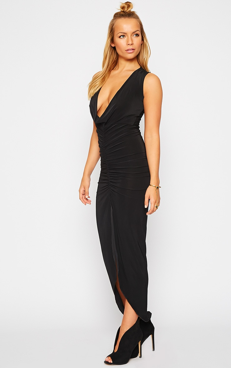 Meghan Black Slinky Ruched Maxi Dress 4