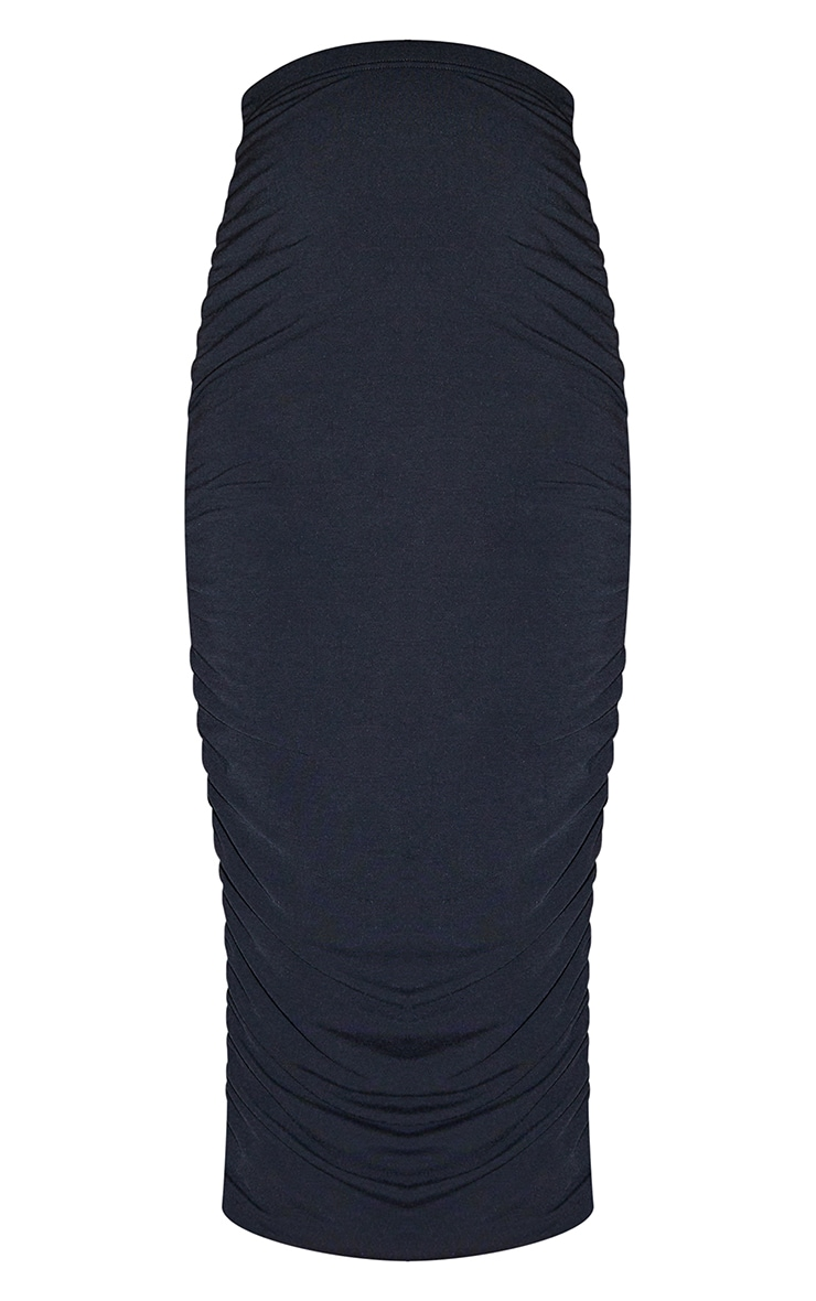 Recycled Maternity Black Contour Jersey Ruched Midaxi Skirt 5