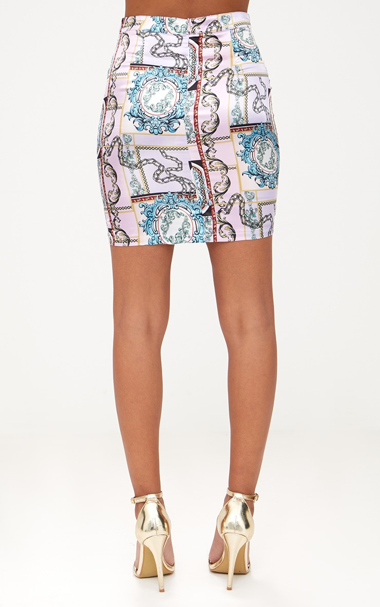 Lilac Scarf Print Mini Skirt 4