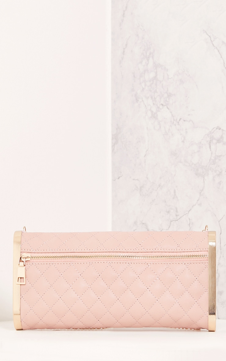 Maia Baby Pink Padded Zip Clutch 3