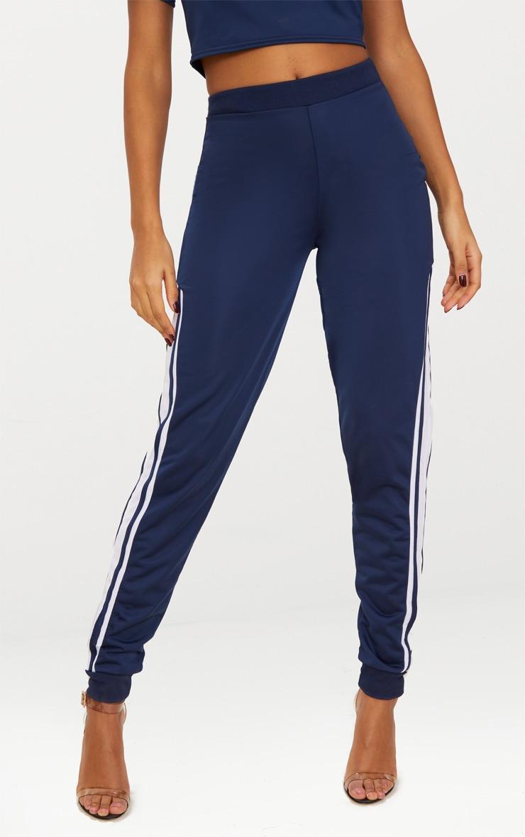 Navy Sport Stripe Track Pants 2