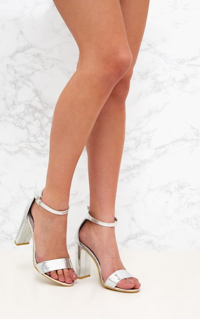 0ea6f2c78f1 May Silver Block Heeled Sandals