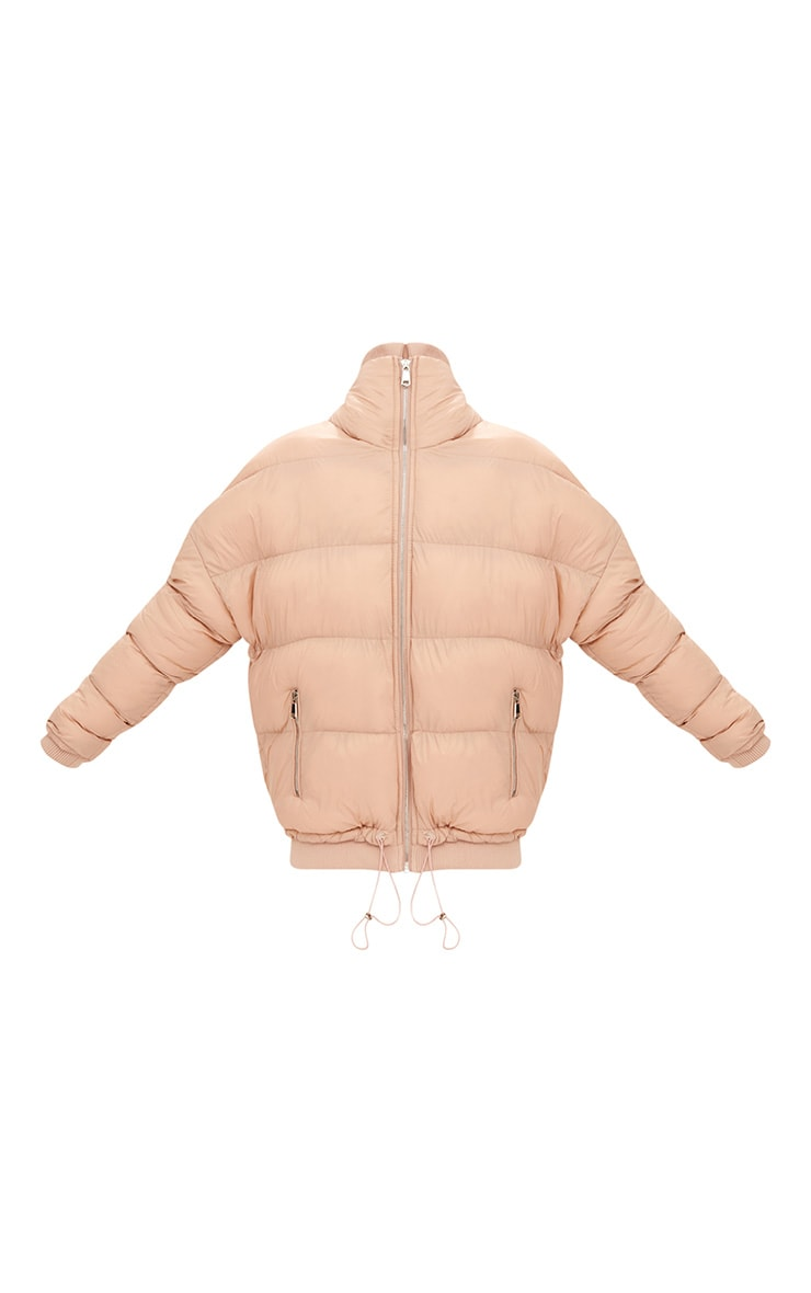 Nude Oversized Puffer Jacket with Zip Pockets 3