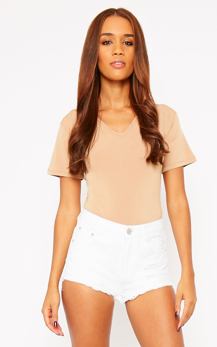 Lor White Frayed Denim Shorts 1